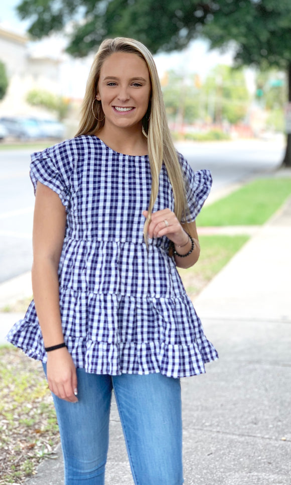 {Camille} Blue Gingham Babydoll Top