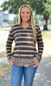 {Lori} Striped Ruffle Bottom Sweater