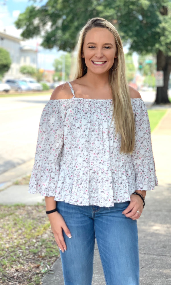 {Erica} Cold Shoulder Floral Blouse - Grace & Grits