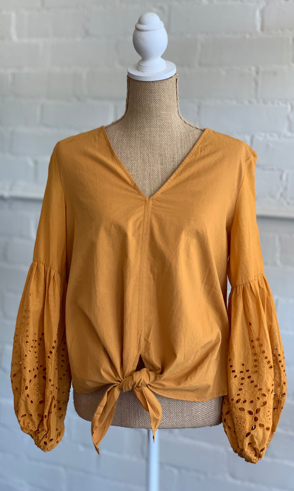 {Trisha} Mustard Eyelet Sleeve Tie Front Blouse - Grace & Grits