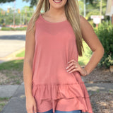 {Lucy} Bottom Ruffle Sleeveless Top - Grace & Grits