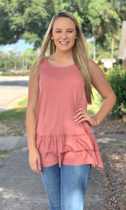 {Lucy} Bottom Ruffle Sleeveless Top