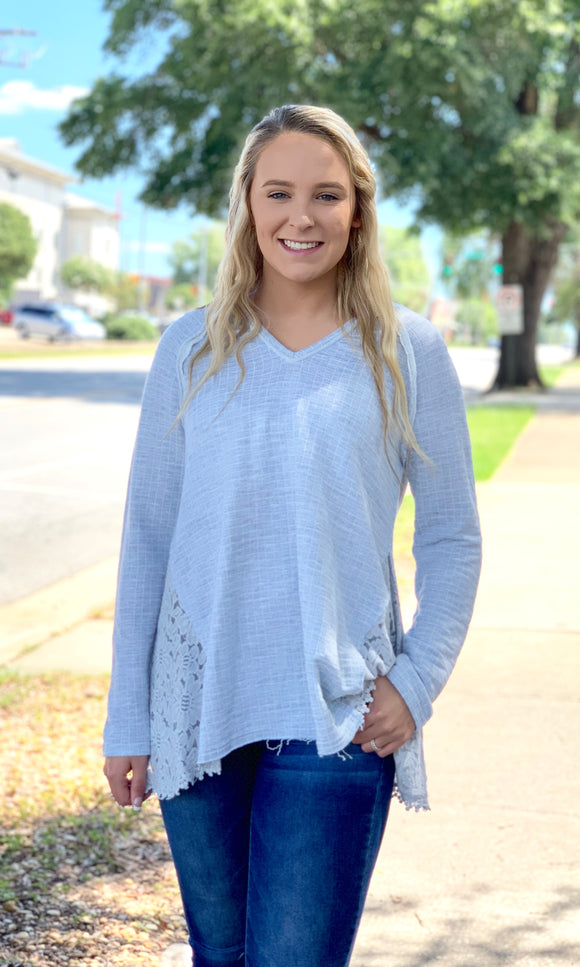 {Harper} Gray Lace Accent Top