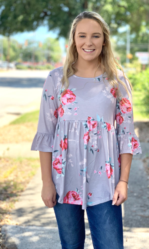 {Linton} Gray Floral Babydoll Blouse - Grace & Grits