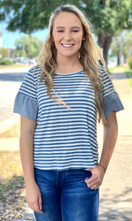 {Tina} Cropped Stripe Blouse - Grace & Grits