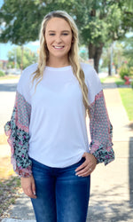 {Elizabeth} Patterned Sleeve Top - Grace & Grits