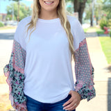 {Kathleen} Patterned Sleeve Top - Grace & Grits