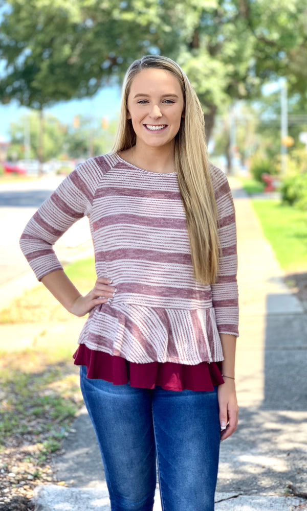 {Jana} Striped Peplum Top - Grace & Grits