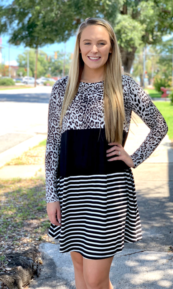 {Lindy} Color Block Leopard & Stripe Dress
