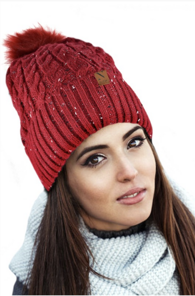 Just a Speckle Red Pom Pom Beanie
