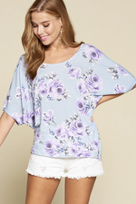 Calming Floral Dolman Sleeve Top