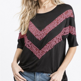 Easy Breezy Lace Chevron Top