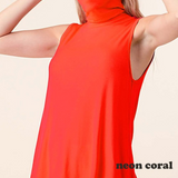 Summer Essential Tank Tunic in Neon Coral