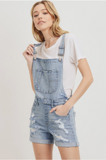 Light Denim Distressed Overalls