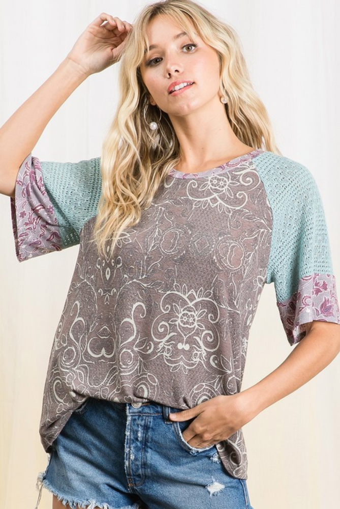 Picturesque Paisley Raglan Top