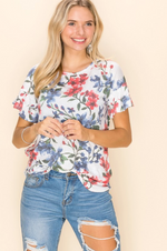 Sketched in Floral Ruffle Sleeve Top