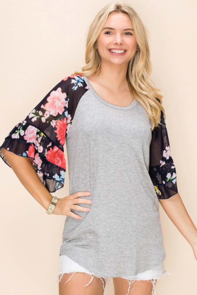 Flowy Floral Bell Sleeve Top