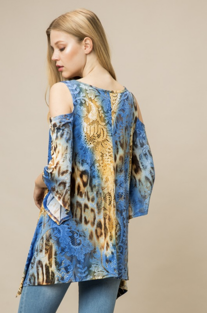 Laced Cheetah Cold Shoulder Tunic