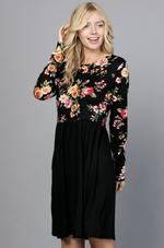 Midnight Gardens Long Sleeve Dress