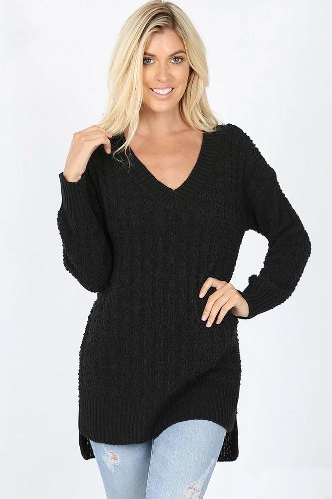 Get Cozy Popcorn Sweater in Black