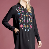Come Together Embroidered Shirt Dress