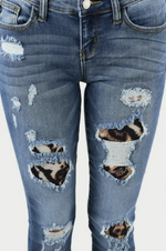 Wild One Leopard Patched Judy Blue Skinnies