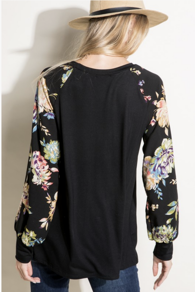Painted Floral Puff Sleeve