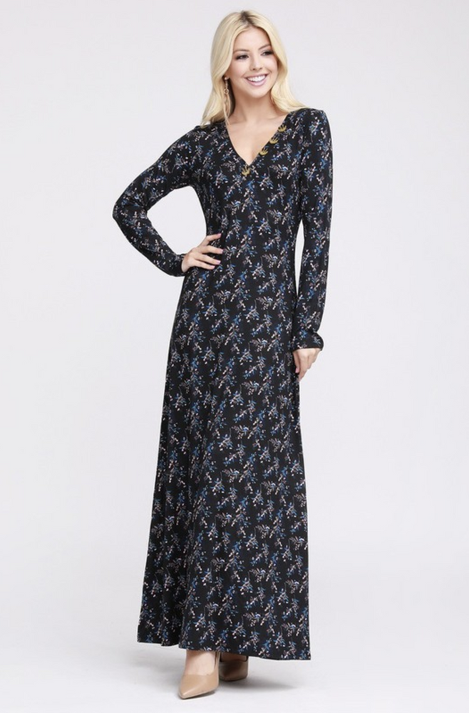 Winter Floral Maxi Dress