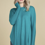 Crossing The Lines Long Sleeve Tee in Jade