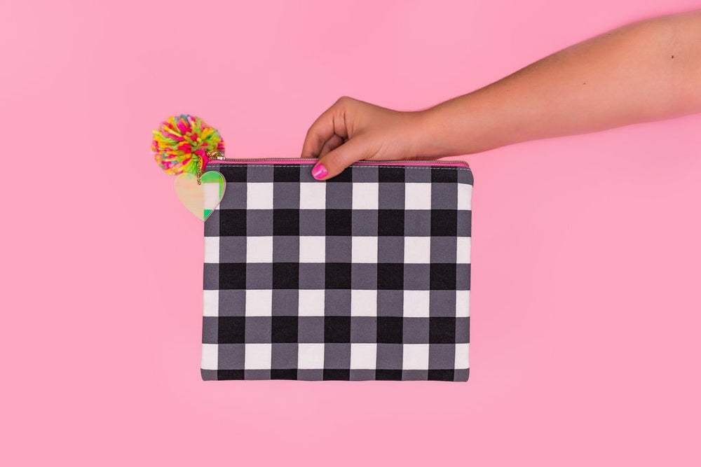 Black Gingham Pouch - Grace & Grits