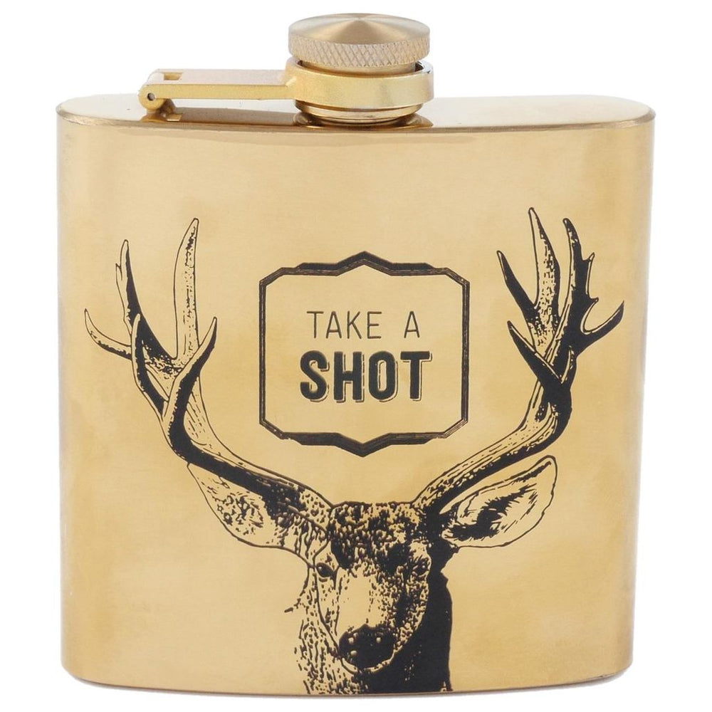 Take a Shot Men's Gold Flask - Grace & Grits