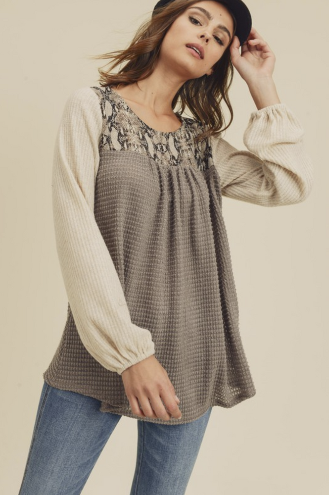 Take a Bite Out of Love Waffle Knit Tunic