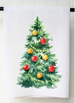 """Watercolor Christmas Tree"" Tea Towel - Grace & Grits"
