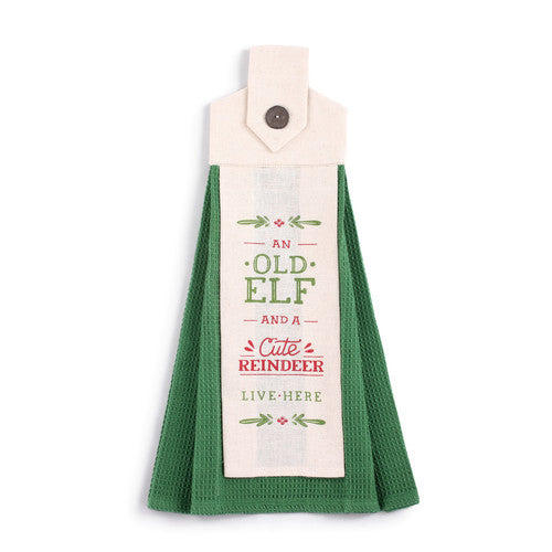 Old Elf, Cute Reindeer Button Loop Tea Towel