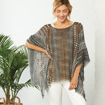 Color Mix Textured Poncho - Grace & Grits