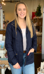 {Skylar} Button Front Navy Jacket - Grace & Grits