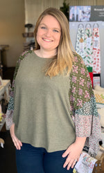 {Christine} Plus Size Floral Bell Sleeve Blouse