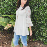 Glacier and Lace Bell Sleeve Top