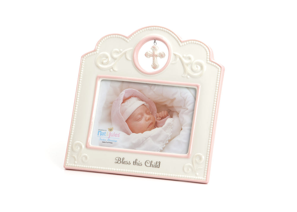 Bless this Child Pink Accent Frame - Grace & Grits
