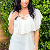 Magnificent Beauty Ruffle Top in White