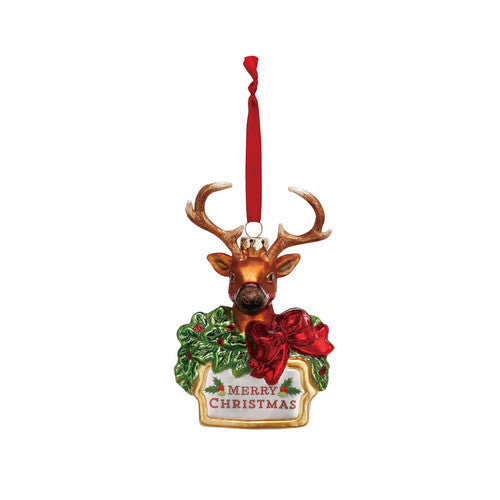 Blown Glass Reindeer Christmas Ornament - Grace & Grits