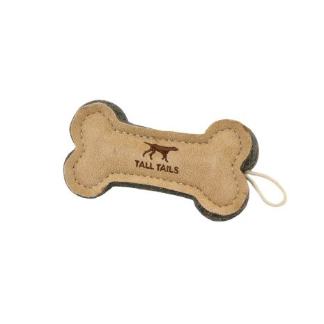 "6"" Leather Bone Dog Toy"