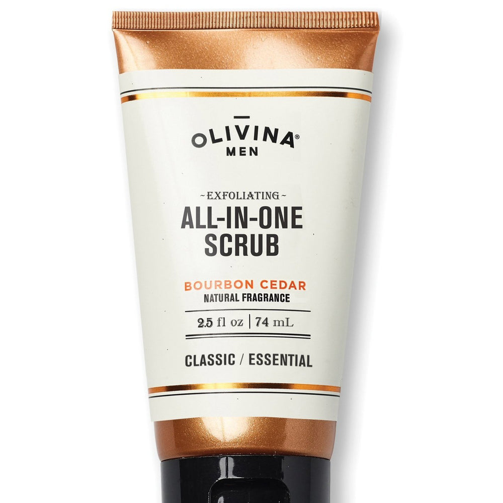 Olivina Men 2.5oz. All-in-One Bourbon Cedar Exfoliating Scrub
