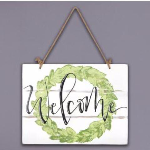 Wooden Wreath Welcome Sign - Grace & Grits