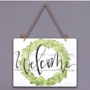 Wooden Wreath Welcome Sign