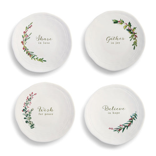 Christmas Greenery Snack Plates - Set of 4 - Grace & Grits