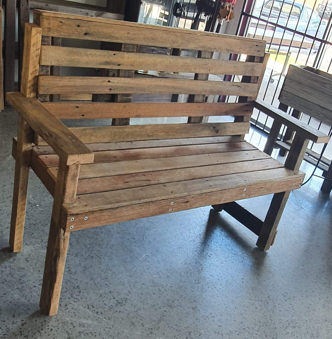 1400mm Slimline bench seat with back wooden recycled