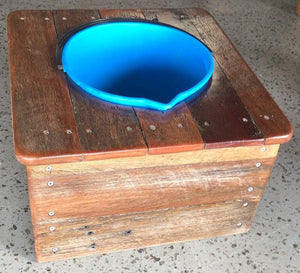 500mm dog bowl and bucket wooden recycled