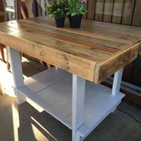 1200mm Island bench with shelf wooden recycled