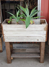 Load image into Gallery viewer, 740mm rectangle planter with legs and shelf wooden recycled